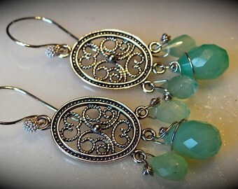 Sterling Silver Ovals with Peru Chalcedony Earrings
