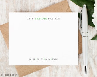 Personalized Notecard Set / Set of Flat Personalized Stationary / Family Note Cards / Personalized Stationery /  // SIMPLY FAMILY