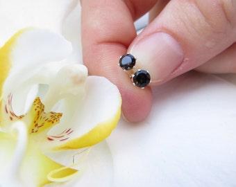 Smoky Quartz Studs, Sterling Silver Earrings, Semi Precious Gemstone Studs, Faceted Earrings, 4 mm Brown Gemstone Studs, Smoky Quartz Posts