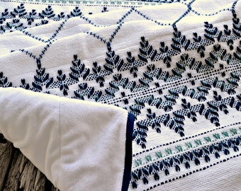 Hand Embroidered Throw Blanket, Light Sofa Throw, Swedish Weaving Afghan, Monks Cloth Afghan, Huck Embroidery Baby Blanket, Blue Lap Throw