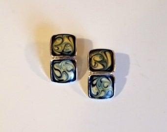 Vintage Geometric Abstract Post Earrings- Silver Tone Glitter Enamel Earrings-- Double Stacked Square Earrings