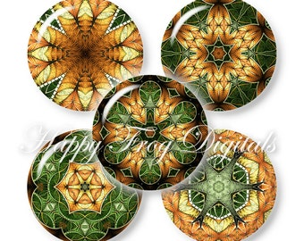 "Green kaleidoscope - 1.5"", 1"", 30 mm, 25 mm circles - Digital Collage Sheet - 380 HFD - Printable Download - Instant Download"