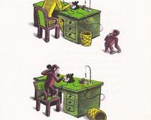 Curious George Art 1960s Vintage Children Book, Monkey Desk Office Wall Illustration by H.A. Rey, 8x10 Print Playroom Nursery Art PRNT01481