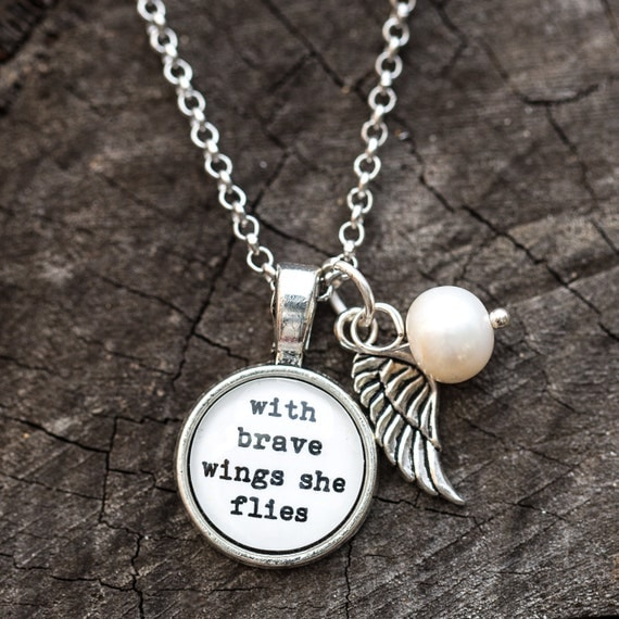 FREE SHIPPING - With Brave Wings She Flies - Quote Necklace - Silver Glitter - Quote Necklace