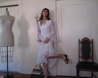 60's Perfect White Cotton Wedding Gown sz Sm