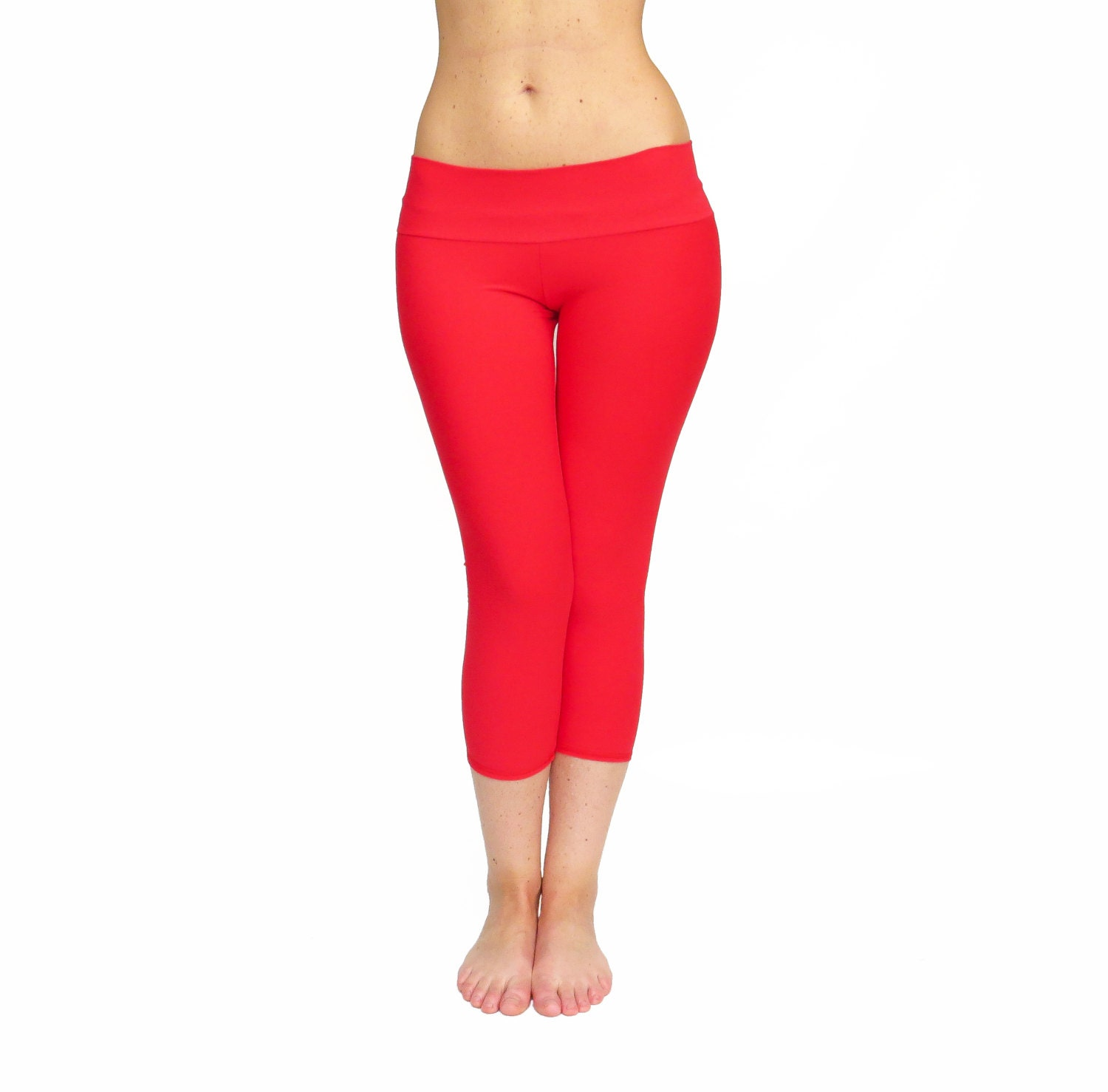 Red Capri Leggings Yoga Pants Red Tights Dance Fitness