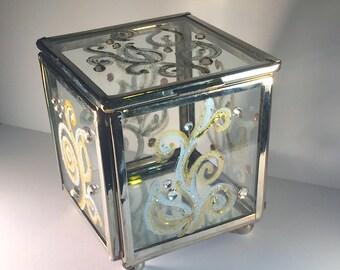 Hand-Painted Glass Trinket Box