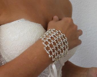 rhinestone bracelet, wedding cuff, crystal jewelry, cuff bracelet, gift for her, bridesmaid gift