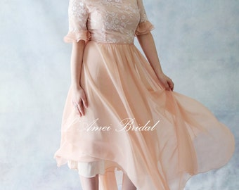 Custom Rose Tea Blush 3/4 Sleeve Embroidered Wedding Dress. Also Available in Silk - AM1983280