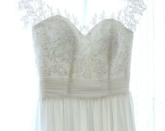 Simple Illusion neckline Floor length A-Line Ivory  White Lace Wedding Dress with Small Cap Sleeves Great for Beach Boho Wedding - AM4048025