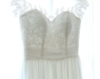 Custom Made Simple White Lace Wedding Dress with Small Cap Sleeves Great for Beach Boho Wedding - AM4048025