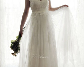 SALE-Romantic Backless Boho Lace Wedding Dress Great for Outdoors or Beach Wedding - AM12364023 -Elizabeth 2016