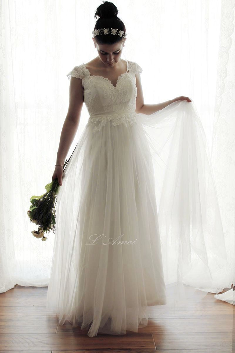 SALE-Romantic Backless Boho Lace Wedding Dress Great for