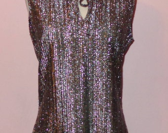 Vtg Judy Bond Silver Metallic Sleeveless Party Top Blouse Mint M