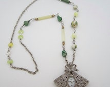 Vintage Watch Fan Pendant, Marcasite Watch Pendant, Green and Yellow Necklace, Collezio Pendant, Vintage Style