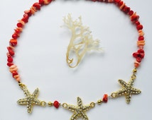 Coral and Starfish Necklace - Starfish Necklace