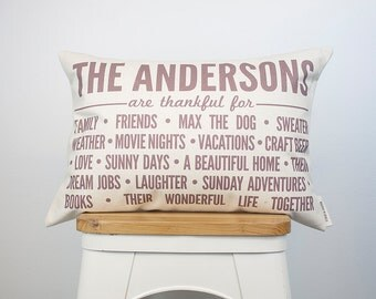 We're Thankful For Pillow, Custom Pillow, Thanksgiving Pillow, Cotton Anniversary, Housewarming Gift, Gift for Grandma, Throw Pillow