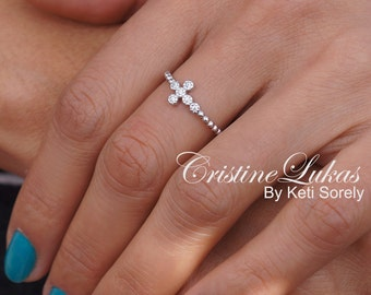 Celebrity Style Sideways Cross Ring With Clear  CZ Stones  - Sterling Silver  with Rhodium Overlay