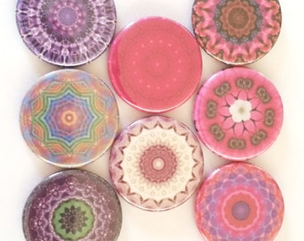Mandala Magnets, Kaleidoscope Magnets, Refrigerator Magnets, Fridge Magnet, Premium Mandala Magnets, Pinks Purples Mandala Magnets, Set of 8