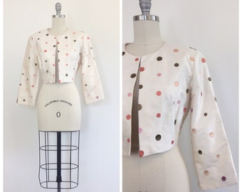 50s Cream Raw Silk Cropped Jacket / 1950s Vintage Multi Color Embroidered Polkadot / Polk Dot Coat / Medium / Size 8