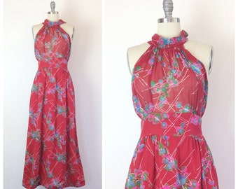 70s Red Cotton Floral High Neck Midi Dress / 1970s Vintage Boho Sheer Abstract Print Maxi Dress / Medium / Size 8