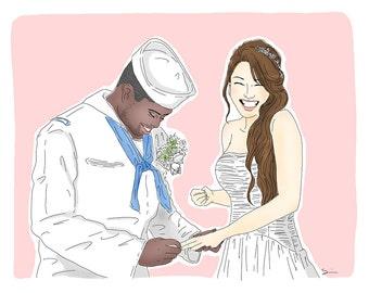 Custom Wedding Portrait, Wedding Portrait Illustration, Couple portrait
