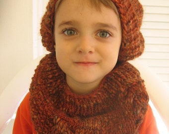 Brown Hand Knitted Cowl. Children Knitted Cowl. Chunky Cowl. Ready to Ship.