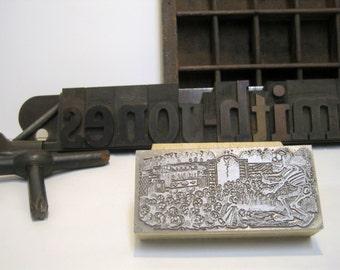 "Letterpress Printing Block ""Gran Calaveras Electrica Skulls"" Letterpress Blocks - Print Blocks - Mounted Letterpress Block - Day Of Dead"