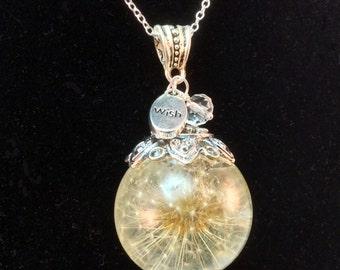Dandelion Necklace, Whole Dandelion Seed Flower, Dandelion Wishes round globe