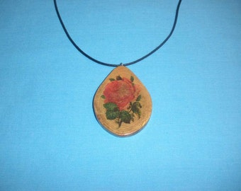 Cabbage Rose on Sassafras Tree Branch Slice Necklace, Handcrafted Wood Necklace, Adjustable, Rustic Wooden Gift