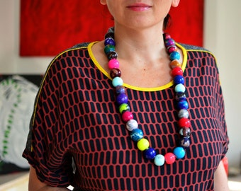 Long colorful bead necklace/long statement necklace/multicolored beads/colorful statement/ball necklace/gifts for her/unique necklace/bold