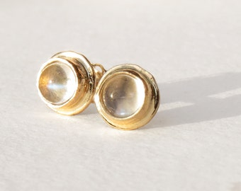 moonstone studs, moonstone earrings, moonstone jewelry, rainbow moonstone, gold studs, 14k gold studs, 14k gold earrings