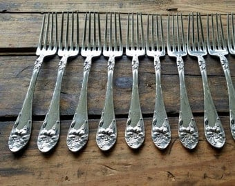 Gorgeous Antique Vintage Silverplate 9 Forks Art Nouveau Alvin EASTER LILY c.1907 Fancy E or F Monogram Flatware Silverware