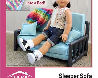 Pixie Faire AptOne8 Sleeper Sofa PVC Pattern for 18 inch American Girl Dolls - PDF