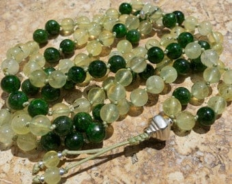 Chrome Diopside, Prehnite and Sterling silver 8mm mala, 108 beads. Hand knotted mala beads. Healing, Recovery, revitalisation