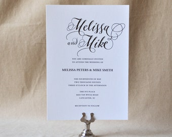 Lowcountry Romance Wedding Invitation, Calligraphy Invitation - Sample