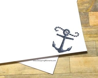 Anchor Stationery - Nautical Note Cards - Beach Wedding Thank You Cards - Ivory Flat Cards - Thank You Cards Anchor Beach
