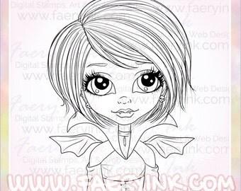 Big Eyes Vampire Girl UNCOLORED Digital Stamp Image Adult Coloring Page jpeg png jpg Fantasy Craft Fae Cardmaking Papercrafting DIY