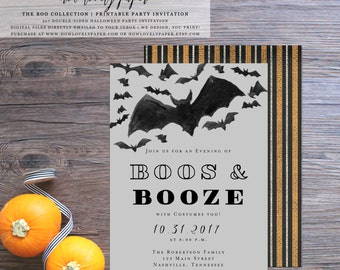Printable Halloween  Party Invitation - Boos and Booze - the Boo Collection