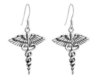 Caduceus Symbol of Medicine Drop Dangle Hook Earrings For Doctors and Nurses #925 Sterling Silver #Azaggi E0794S