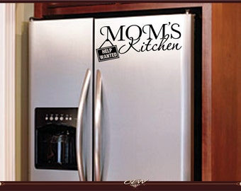 home wall, appliance decal, mom's kitchen help wanted decal quote for refrigerator, funny computer cut vinyl decal. sticker, graphic