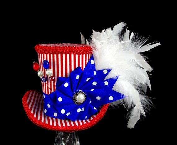 Red, White, and Blue Polka Dot and Striped Cockade Large Mini Top Hat Fascinator, Alice in Wonderland, Mad Hatter Tea Party, Derby Hat