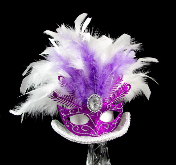 Mardi Gras Carnival White and Purple Mask Large Mini Top Hat Fascinator, Alice in Wonderland, Mad Hatter Tea Party, Derby Hat