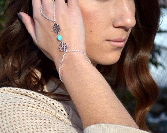Hand Chain // Slave Bracelet // Bohemian Hand Jewelry // Boho // Silver Bracelet // Turquoise Howlite Stone