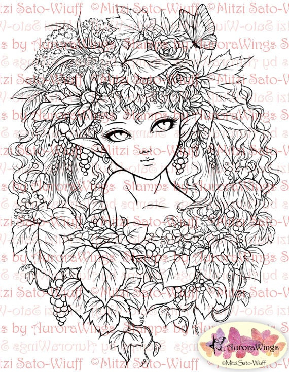 Digital Stamp - Instant Download - Harvest Elf - Beautiful Fairy in Autumn Leaves - digistamp - Fantasy Line Art for Cards & Crafts