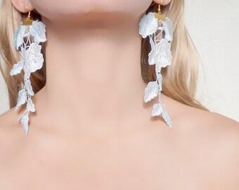 SALE statement earrings / white light blue floral lace earrings - gold dangly earrings - romantic jewelry gift