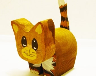 A Little Handcrafted Wooden Kitty With Lots of Love to Share-Handmade & Hand Painted