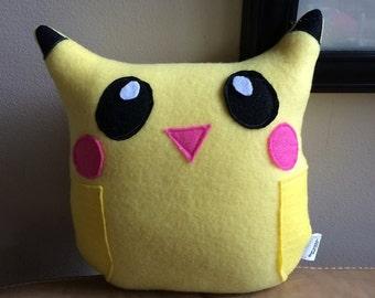 Pikachu Owl Plushie- Inspired by the Pikachu Character- Small Plush Pikachu Owl Plushie- Yellow and Black