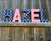 Quatrefoil Nursery Decor Customizable Art Navy Coral Name Hanging for Nursery or Child Room. Fabric Covered Letters Other Fabrics available.