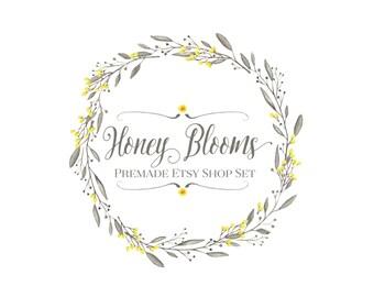 Premade Etsy Shop Set -  Etsy Banner Set - Honey Blooms - Floral Watercolor Wreath